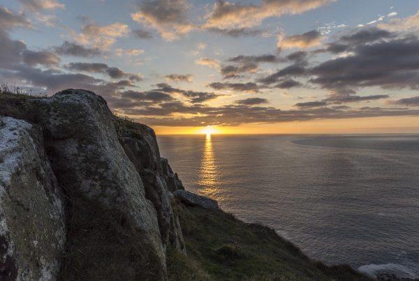 Lundy - Sun Setting Near Old Lighthouse - September 14, 2016